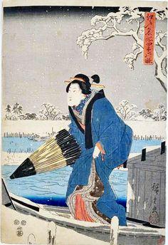 歌川広重:「江戸名所四季の眺 隅田川雪中の図」