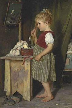 Agathe Rostel - Young Girl Combing Her Hair Painting