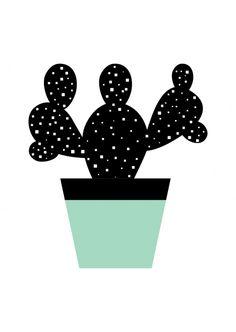 Kaartje zwart/wit cactus met een vleugje mintgroen. Ontwerp: byBean. Je shopt 'm hier: http://www.bybean.nl/kaartjezwcactusmeteenvleugjemintgroen