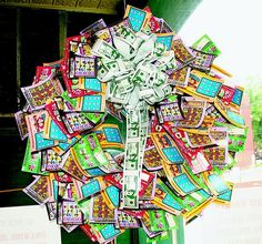 "Lottery ticket wreath...  Could add coin ""berries"" so they could scratch too."