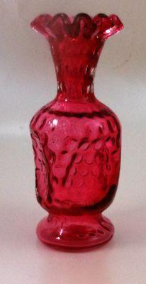 Fenton Art Glass Ruby Overlay Cranberry Baby Fine Dot Optic Vase | eBay