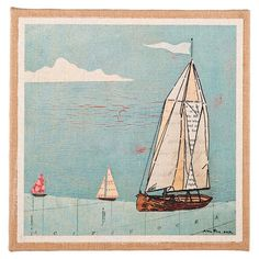 Bring coastal-chic style to your entryway or living room with this lovely print, showcasing a sailboat motif and burlap-wrapped frame.