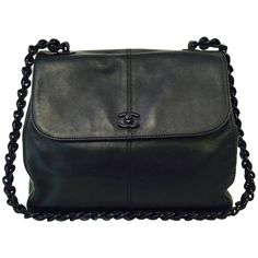 Pre-owned 1990s Chanel Black Lambskin Shoulder Bag With Leather Woven... ($2,150) ❤ liked on Polyvore featuring bags, handbags, shoulder bags, handbags and purses, structured shoulder bags, black leather shoulder bag, black purse, chanel shoulder bag, leather handbags and black shoulder bag