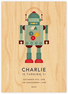 Petit Collage for Paperless Post - Retro Robot Birthday Invitation First Birthday Gifts, Boy Birthday, First Birthdays, Birthday Ideas, Online Invitations, Birthday Invitations, Invites, Robot Theme, Retro Robot