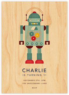 Petit Collage for Paperless Post - Retro Robot Birthday Invitation