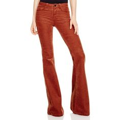 J Brand Bella Flare Corduroy Jeans (74 CAD) ❤ liked on Polyvore featuring jeans, terracotta, corduroy jeans, super skinny jeans, skinny flare jeans, skinny leg jeans and red skinny jeans