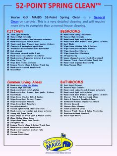 Cleaning Checklists are just what your Home Needs. Check out of 52 Point Spring Clean Checklist