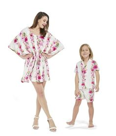 968edbfde97f Matching Mother Son Set Women Poncho Dress Boy Outfit in Pink Hibiscus Vine  White Poncho Dress