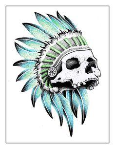 En cours Skull indien dot work bleu vert noir