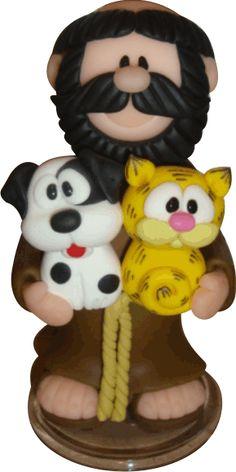 São Francisco de Assis em Biscuit - 25cm da Bicho da Rua (Ong) Pasta Flexible, Sugar Art, Tole Painting, Cold Porcelain, Gourds, Biscuits, Polymer Clay, Arts And Crafts, Carving
