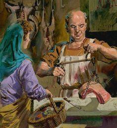 a visit to the butcher in Roman Britain ~ Allesandro Biffignandi Ancient Roman Food, Ancient Rome, Ancient Greece, Ancient Art, Ancient History, Pax Romana, Greek Pantheon, Roman Britain, Roman Architecture