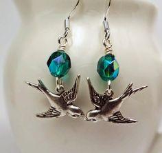 Swallow earrings Bird earrings Silver & by BulletsBeadsBaubles