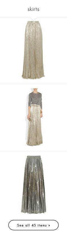 """""""skirts"""" by srras ❤ liked on Polyvore featuring skirts, bottoms, oscar de la renta, maxi skirts, saias, gold, long maxi skirts, long skirts, long pleated skirt and long pleated maxi skirt"""