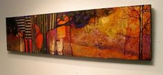 You know these are trees, even though they are very abstracted.  This painting has many texture elements collaged into it.  It arriv...
