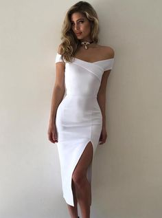 Buy Eng anliegende Off-die Schulter Tee-Länge Schlitz Weiß Stetch Satin Abiballkleid, Only €. Buy Tight-fitting Off-the-shoulder Tea-length Slit White Stetch Satin Prom Dress, Only € ballkleid Dresses For Teens, Modest Dresses, Trendy Dresses, Tight Dresses, Sexy Dresses, Dress Outfits, Nice Dresses, Short Dresses, Prom Dresses