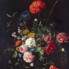 Jan Davidsz De Heem Vase of Flowers, , , The Hermitage, St. Read more about the symbolism and interpretation of Vase of Flowers by Jan Davidsz De Heem. Art Floral, Motif Floral, Flower Vases, Flower Art, Rembrandt, Dutch Still Life, Baroque Painting, Still Life Flowers, Dutch Painters
