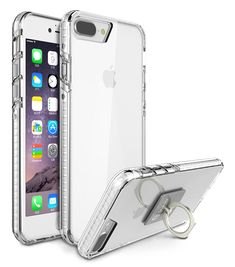 iPhone 8 Plus Cover / iPhone 7 Plus Case, Style4U Scratch Resistant Shock Absorbent Slim Transparent Crystal Clear Back TPU Bumper Glow In The Dark Case Cover w/ Ring Holder Kickstand [Clear]