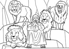 Dare Daniel and the Lions story from Holy Bible and images and pictures and coloring pages verses