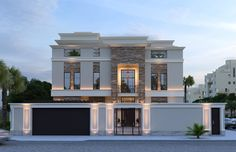 The exterior crown molding elegantly accentuates the roof line of the modern classic house while adding a traditional element to the modern exterior d Classic House Exterior, Modern Exterior House Designs, Best Modern House Design, Classic House Design, Dream House Exterior, Modern Architecture House, Modern House Plans, Sustainable Architecture, Modern House Facades