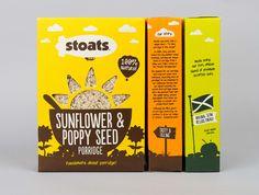 Packaging for Stoats porridge range designed by Robot Food.