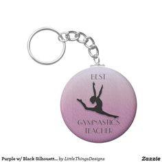 Purple w/ Black Silhouette Gymnastics Teacher Gift Keychain