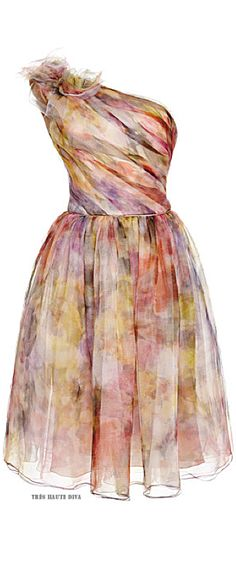 Marchesa Floral Print One Shoulder Cocktail Dress ♔ Resort 2015