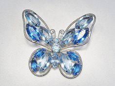 Vintage Blue Glass Rhinestone Butterfly Brooch Silver Tone.