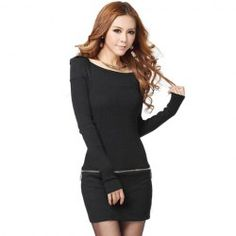 Sweet Style Boat Neck Long Sleeves Zipper Embellished Solid Color Knitted Dress For Women