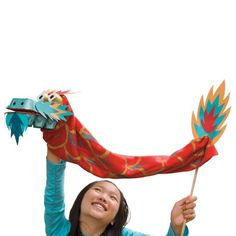 Chinese dragon puppet - I loved working with the palette for this of red, turquoise, and gold