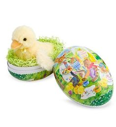 Enormous Egg and Lucky Duck Colorful papier-mâché Enormous Egg.  Features a hand-appliqued antique print from Germany. Tuck the sunshiny yellow,  http://awsomegadgetsandtoysforgirlsandboys.com/easter-gifts-for-baby/ Easter Gifts For Baby: Enormous Egg and Lucky Duck