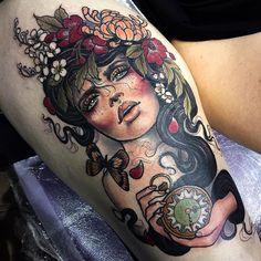 Hannah Flowers – Neo-Traditional Ladies - tattoos - Tattoo Designs For Women Design Tattoo, Flower Tattoo Designs, Tattoo Designs For Women, Tattoo Women, Flower Tattoos, Traditional Tattoo Flowers, Neo Traditional Tattoo, Arm Tattoos, Body Art Tattoos