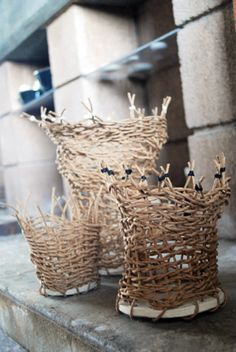 cane mini baskets