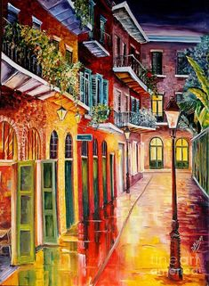 French Quarter Wall Art - Painting - Pirates Alley By Night by Diane Millsap Skyline Painting, Crab Painting, Painting Art, New Orleans Art, Perspective, House Drawing, Office Art, Mail Art, Beautiful Paintings