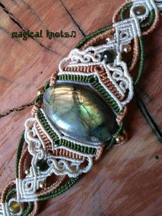 Macrame bracelet with magical labradorite and golden beads