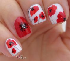 Poppy nail art, Flower poppy, Nail art