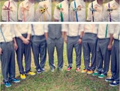 I like this... All the boys in suspenders and the groom in the vest. Cute! We won't do rainbow colors, but that's super cute, too!