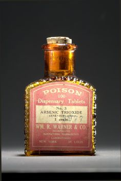 """Wm. R. Warner & Co., about 1900. Arsenic trioxide, a toxic substance employed in gold-mining and other industrial processes, was also used as a medicine in the 19th and 20th centuries (it is still used today to treat leukemia and other diseases). Bottles that featured raised ridges, skulls and crossbones, and the embossed word """"poison"""" were designed so that people could distinguish poisons from other medicines, even in the dark. Smithsonian Institution"""