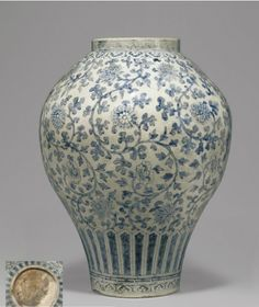 A rare and important blue and white porcelain jar, Joseon Dynasty century), 19 high; Porcelain Jewelry, Fine Porcelain, Porcelain Ceramics, Ceramic Art, Painted Porcelain, Kintsugi, Ikebana, Korean Pottery, Japanese Porcelain