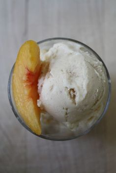 Peaches & Cream Frozen Yogurt  Makes 1 Quart  Print Recipe   3 cups frozen, chopped peaches, slightly thawed (or if you have fresh peaches go ahead and use those) 2 cups low fat Greek yogurt 2 tablespoons honey 1 tablespoon vanilla extract