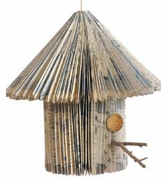 Birdhouse from vintage book pages