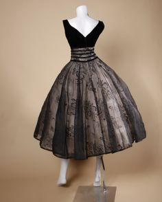 Vintage 1950's Black Organza Burn Out Velvet Party Dress image 6