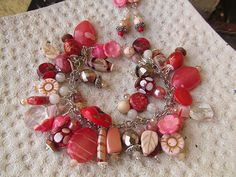Winter Rose Pink Red Bead Charm Bracelet by moonlilydesigns, $32.00
