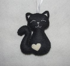 Cute Wool Felt Cat Ornament Gray Cat Ornament by NitaFeltThings