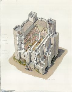 Dover Castle: A cutaway reconstruction drawing of the furniture and decoration