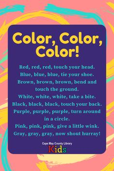 This is such a fun color-themed action rhyme! A fun brain break for classrooms or storytimes. Color Songs Preschool, Preschool Music Activities, Preschool Poems, All About Me Preschool, Kindergarten Songs, Kids Poems, Toddler Learning Activities, Therapy Activities, Nursery Rhymes Lyrics
