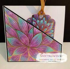 Designed by Hayley Warren. Pocket card made using Spectrum Noir Colorista -  Designer Tags 1 and Flower Bouquet foil pad.  Coloured with Spectrum Noir Colorista pencils - Set 1 and 6. #Crafterscompanion #spectrumnoircolorista #spectrumnoir