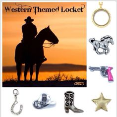 """Western Themed Locket…   Tell your story in a personalized locket from South Hill Designs that can tell a different story everyday with interchangeable charms... Please LIKE my page on Facebook for other locket ideas, as well as special promotions. https://www.facebook.com/SHDbykarlinielsen or go to www.southhilldesigns.com/karlinielsen to create your own """"STORY"""" today..."""