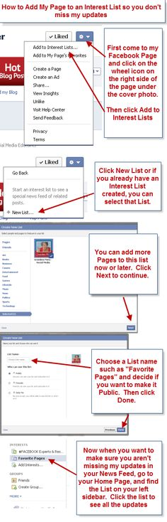 Here's a hot tip from www.facebook.com/GrandmaMaryShow  Tell your Fans how to create an Interest List with your Page on it so they don't miss your updates in their News Feed!
