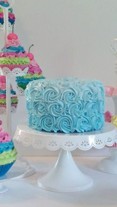 Aqua Ombre Rosette Fake Cake Photo Prop or Birthday Party Decorations Displays #FakeCupcakeCreations