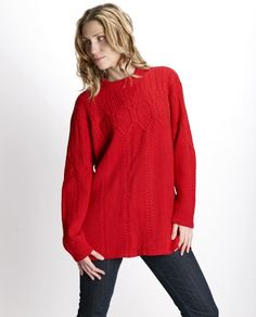 Hand-knitted red sweater, soft and cozy #sweater #woolenclothes #shopping #womenfashion